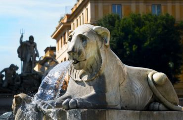 Lions Fountain in Piazza del Popolo, Rome